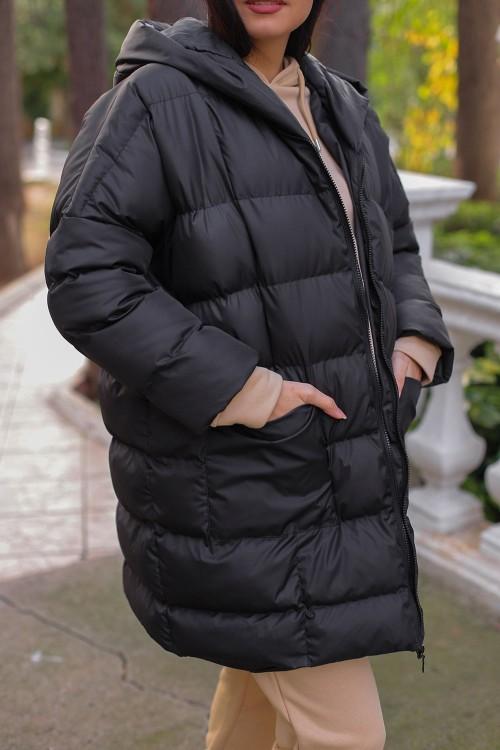 Black Oversize Puffer Coat
