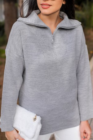Gray Collar Zipper Detailed Knitwear Sweater