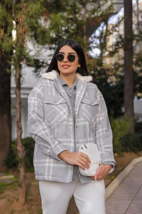 Gray Plaid Collar Plush Detail Jacket