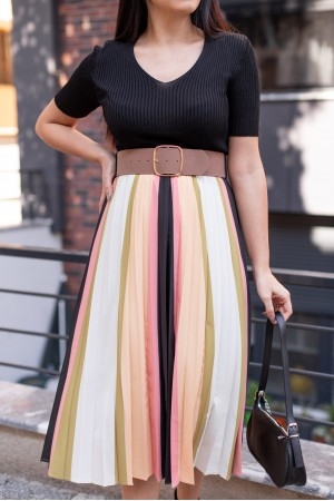 Colorful Belt Detail Dress With Pleated Skirt
