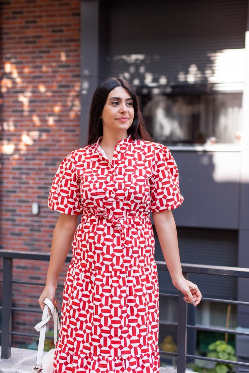 Red Patterned Drawstring Balloon Sleeve Dress