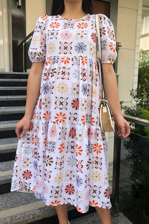 White Color Patterned Balloon Sleeve Dress