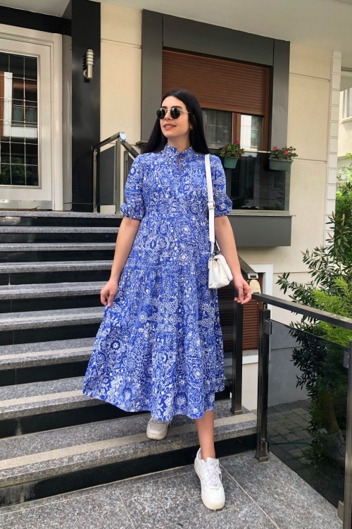 Blue and White Patterned Asymmetric Half Sleeve Dress
