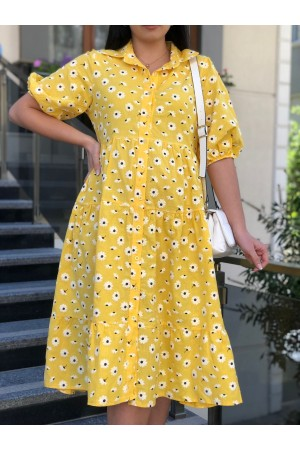 Yellow Daisy Pattern Front Buttoned Dress