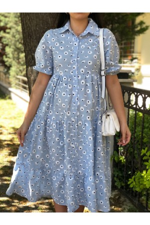 Baby Blue Daisy Pattern Front Button Dress