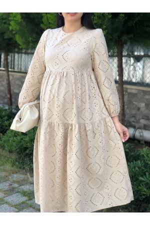 Beige Scalloped Lined Dress