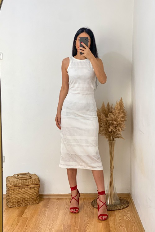 White Line Pattern Lined Dress