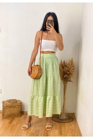 Pistachio Green Plaid Ruffle Detail Long Skirt