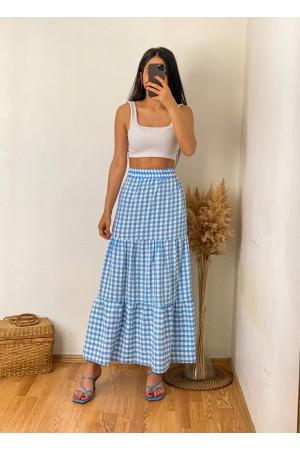 Blue Check Ruffle Detail Long Skirt