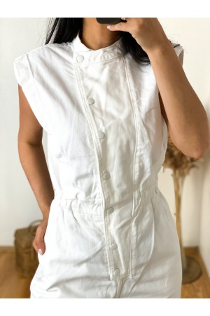 white front snap detail padded denim overalls