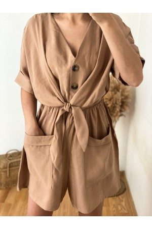 Light Brown Front Tie Shorts Jumpsuit