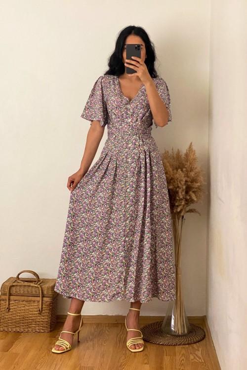 Lilac Belted Crispy Pattern Dress