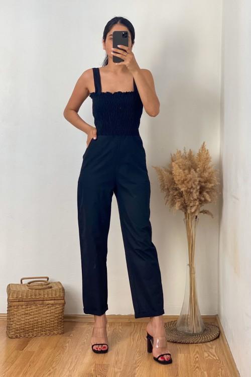 Black Gipple Strap Jumpsuit