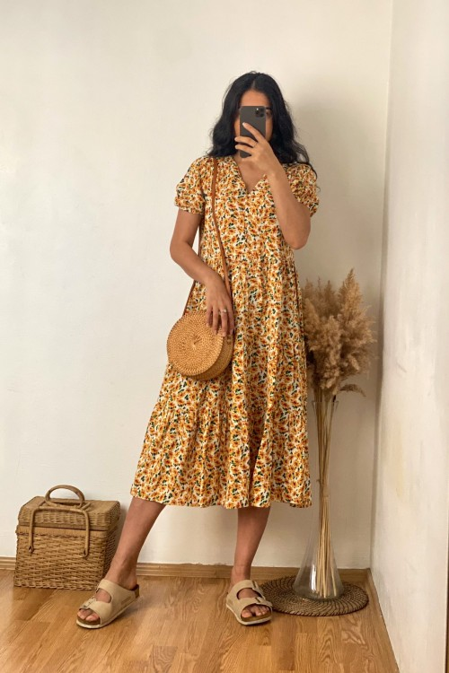 Orange Yellow Front Buttoned Floral Pattern Dress