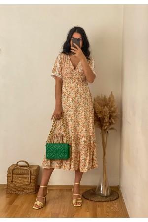 Orange Sleeve Lace Crispy Pattern Dress