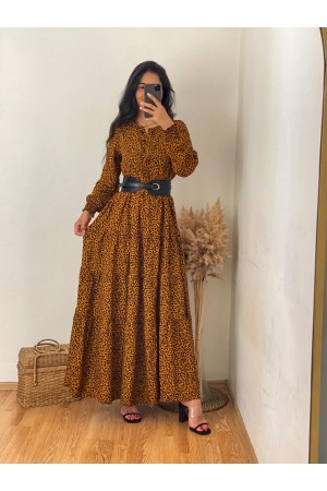 Brown Leopard Patterned Maxi Length Dress