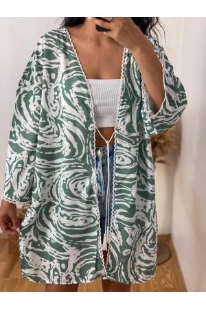 Green and White Patterned Kimono