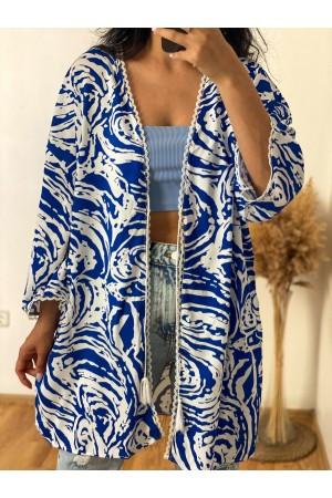 Blue White Patterned Kimono