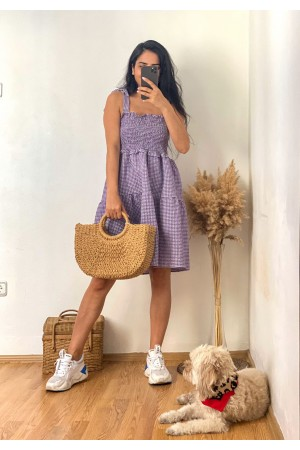 Lilac Gingham Dress With Straps