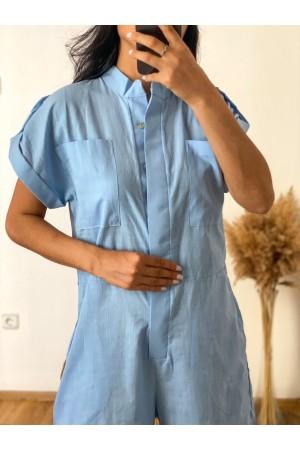 Blue Judge Collar Epaulette Detailed Jumpsuit