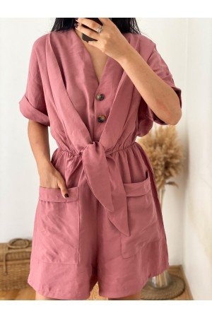 Dried Rose Front Tie Shorts Jumpsuit