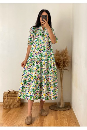 White Collar Mixed Color Floral Dress