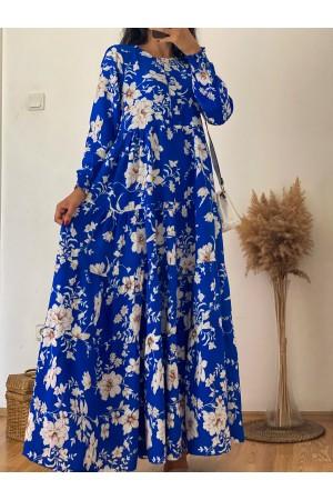 Blue Floral Patterned Elastic Ankle Detailed Dress
