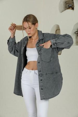 Anthracite Buttoned Loose Denim Jacket