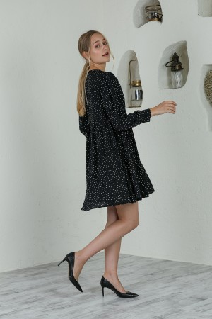 Black Polka Dot Front Ruffle Dress
