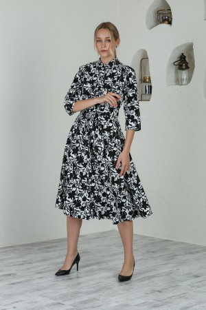 Black and White Floral Front Buttoned Belted Dress