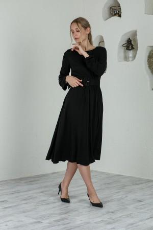 Black Midi Length Belted Dress