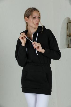 Black Hooded Zipper Detailed Sweatshirt