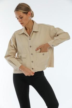 Cream Color Pocket Detailed Buttoned Denim Jacket