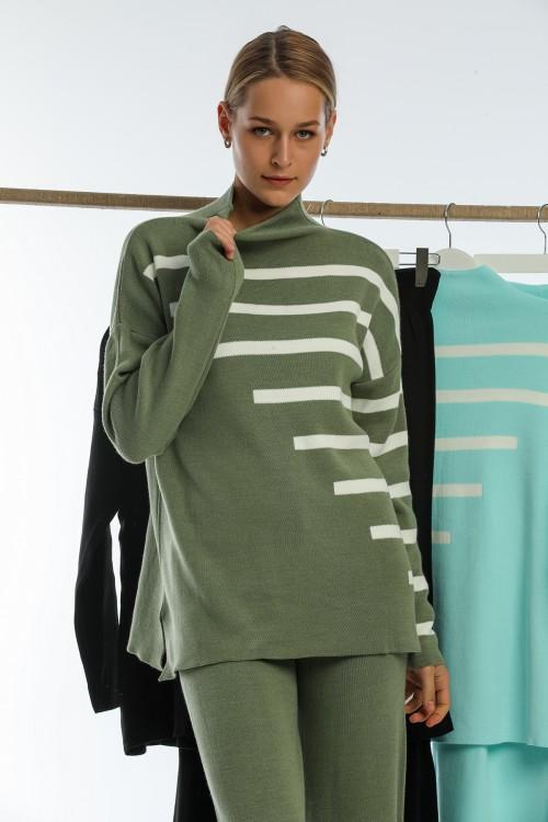 Khaki Half Turtleneck Spanish Leg Striped Knitwear Set