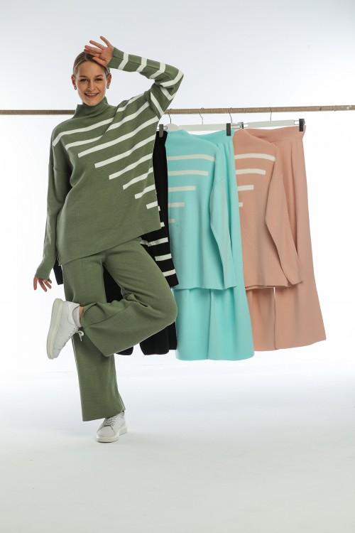 Black Half Turtleneck Spanish Leg Striped Knitwear Set