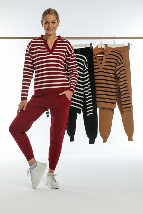 Burgundy V-neck Striped Knitwear Set