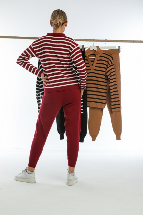 Black V-Neck Striped Knitwear Set