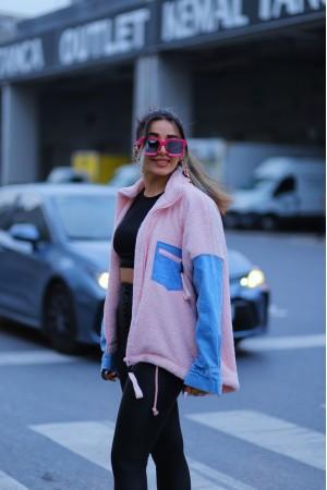 Powder Sleeves Denim Detailed Plush Jacket