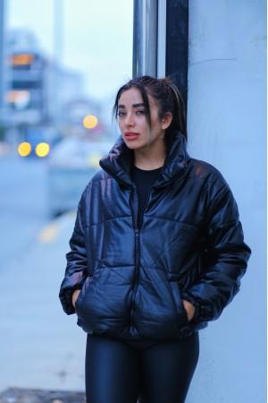 Black Leather Look Down Jacket