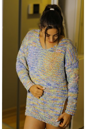Mixed Color V-Neck Knitwear Sweater